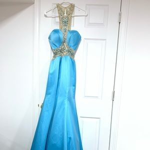 Sexy beading satin long prom dress